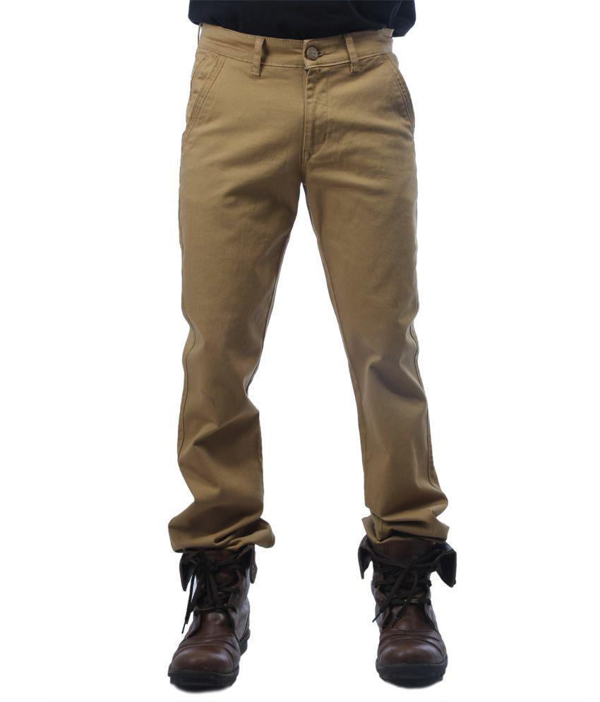 Just I Khaki Cotton Casual Trouser