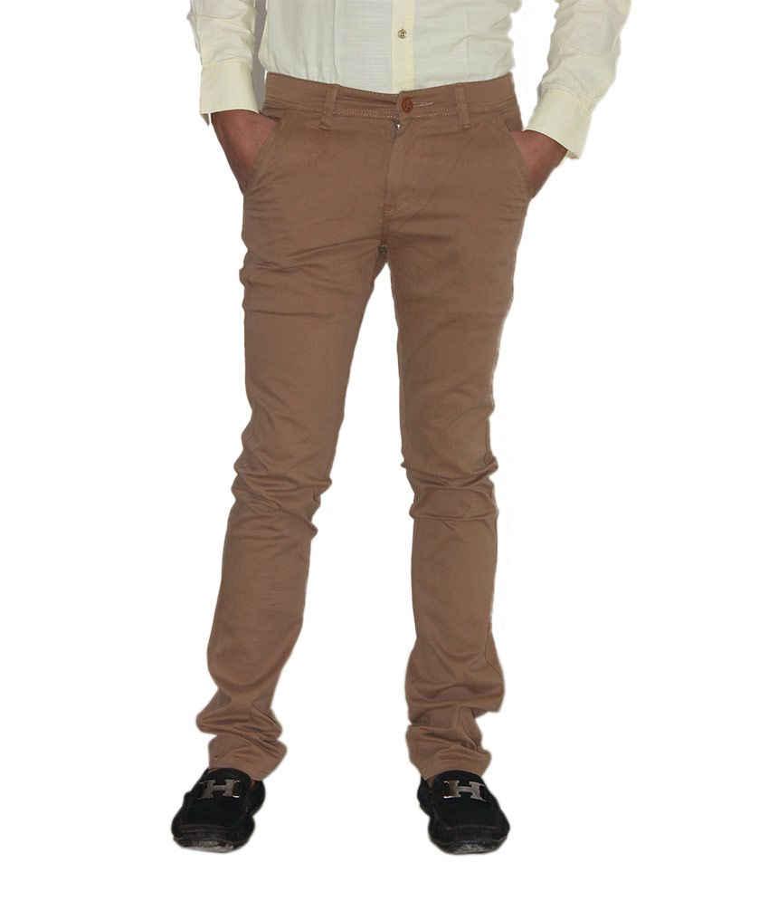 Kendrews Brown Cotton Lycra Slim Fit Semi Formal Chino