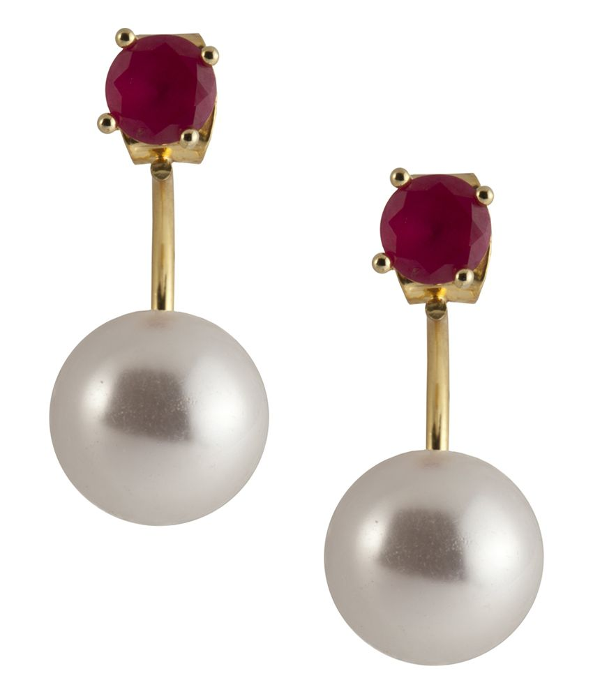 Siyora Red Brass And Copper Studs Earings
