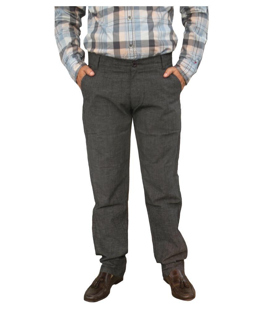 Trendi24x7 Black Dobby Cotton Lycra Comfort Men's Trouser