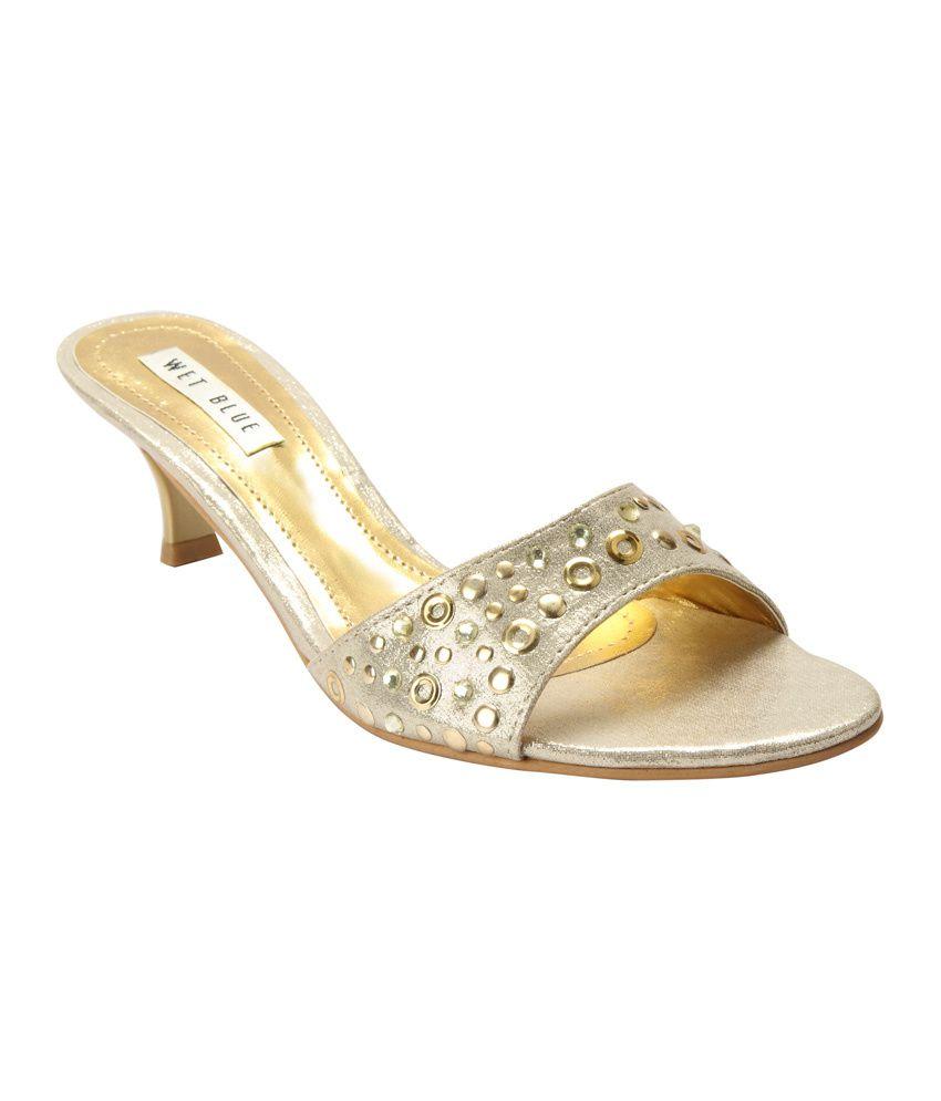 Wet Blue Gold Low Heel Party Wear Open Toe Sandals
