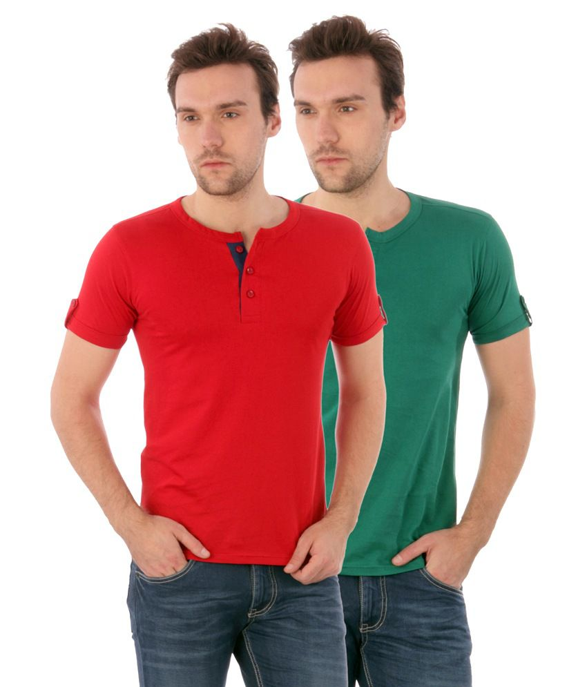 Campus Sutra Combo Henley Tshirt Pack Of 2