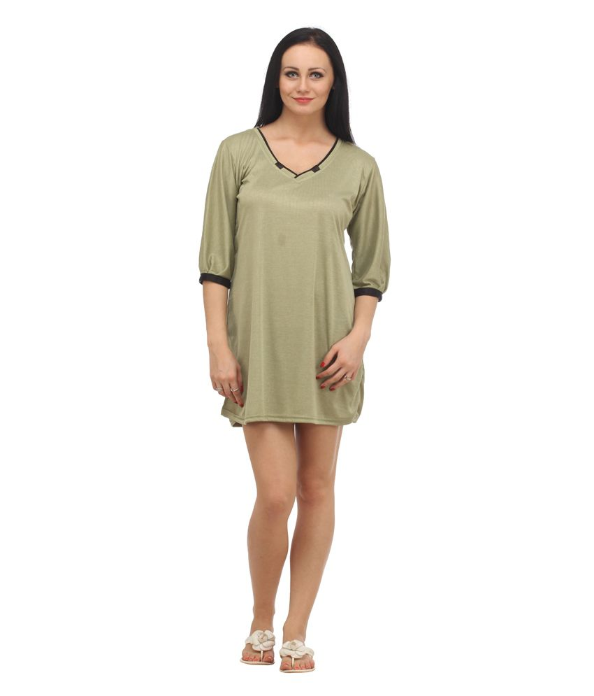 5cc7b9c1fd Buy Klamotten Light Green Cotton Nightdress Online at Best Prices in India  - Snapdeal