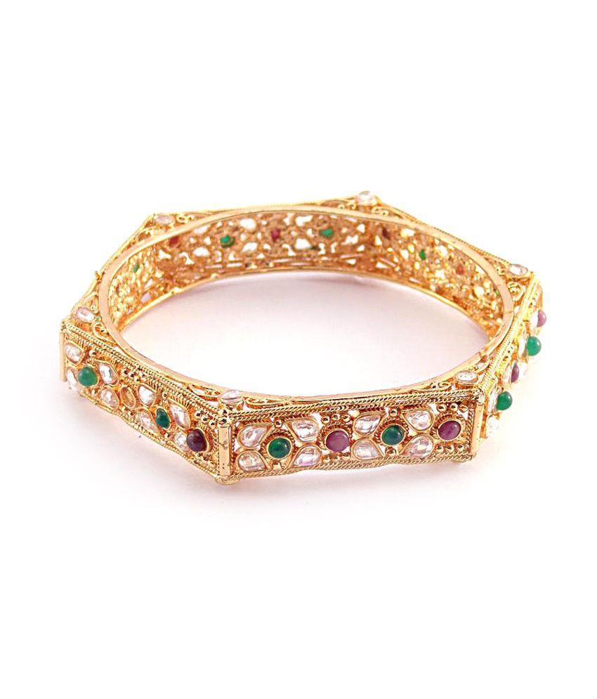 Nishiratna Antique Design Gold Plated - 1 Gm Kangan: Buy ...