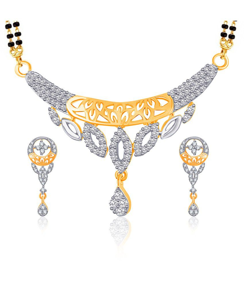 Vk Jewels Cluster Shine Gold And Rhodium Plated Mangalsutra Pendant Set With Earrings