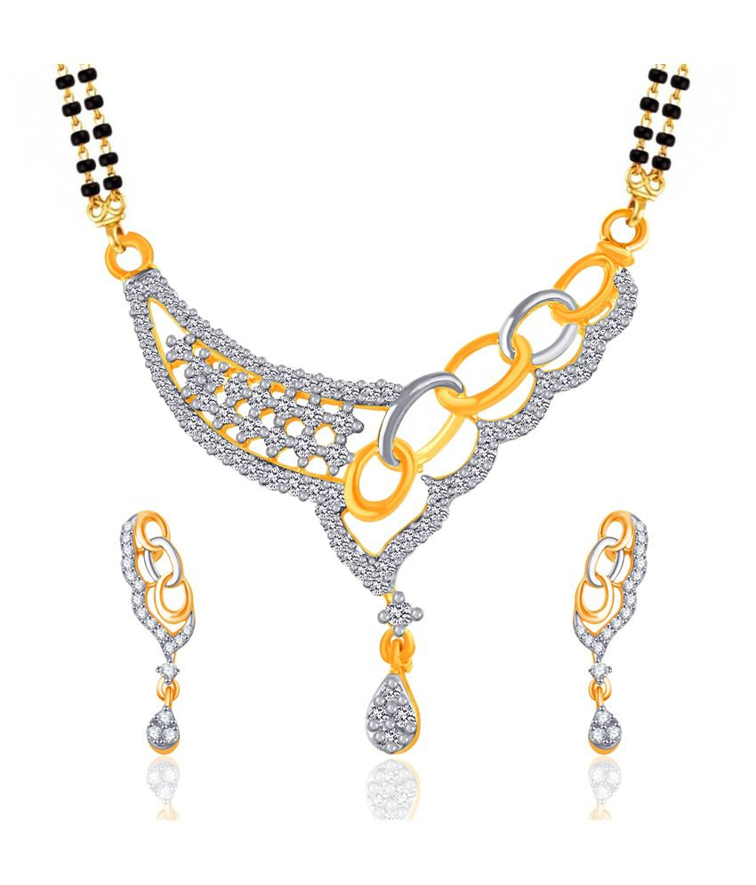 Vk Jewels Fascinating Gold And Rhodium Plated Mangalsutra Pendant Set With Earrings