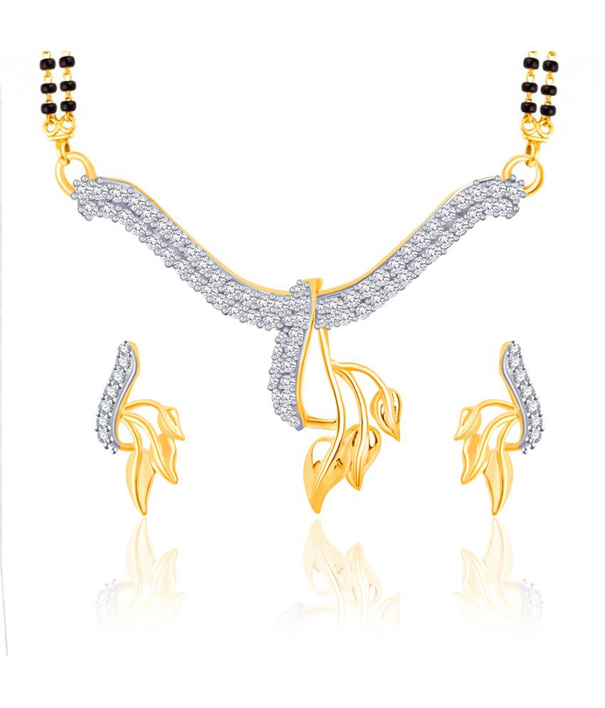 Vk Jewels Three Leafs Gold And Rhodium Plated Mangalsutra Pendant Set With Earrings