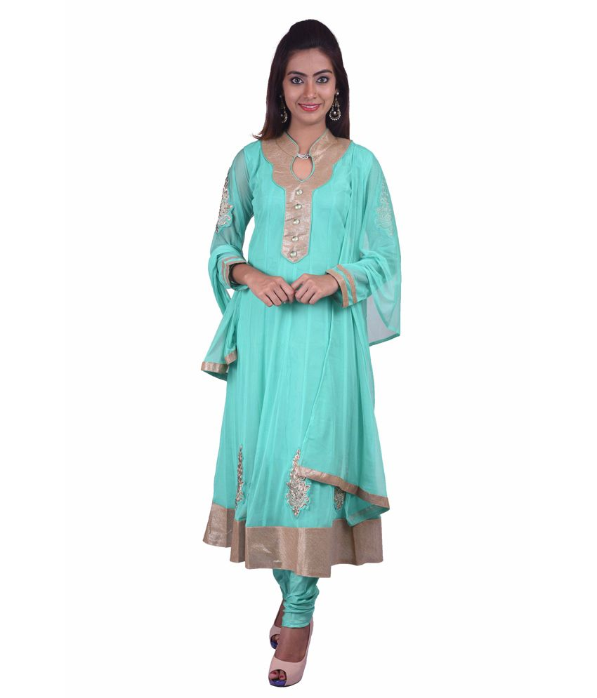 Ashwini Green Polyester Stitched Embroidered Anarkali Netted Salwar Suit