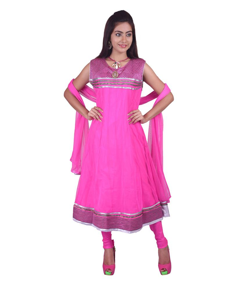 Ashwini Pink Polyester Stitched Embroidered Anarkali Netted Salwar Suit