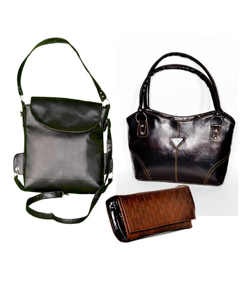 D Jindals Combo Of Two Black Handbag With Brown Purse