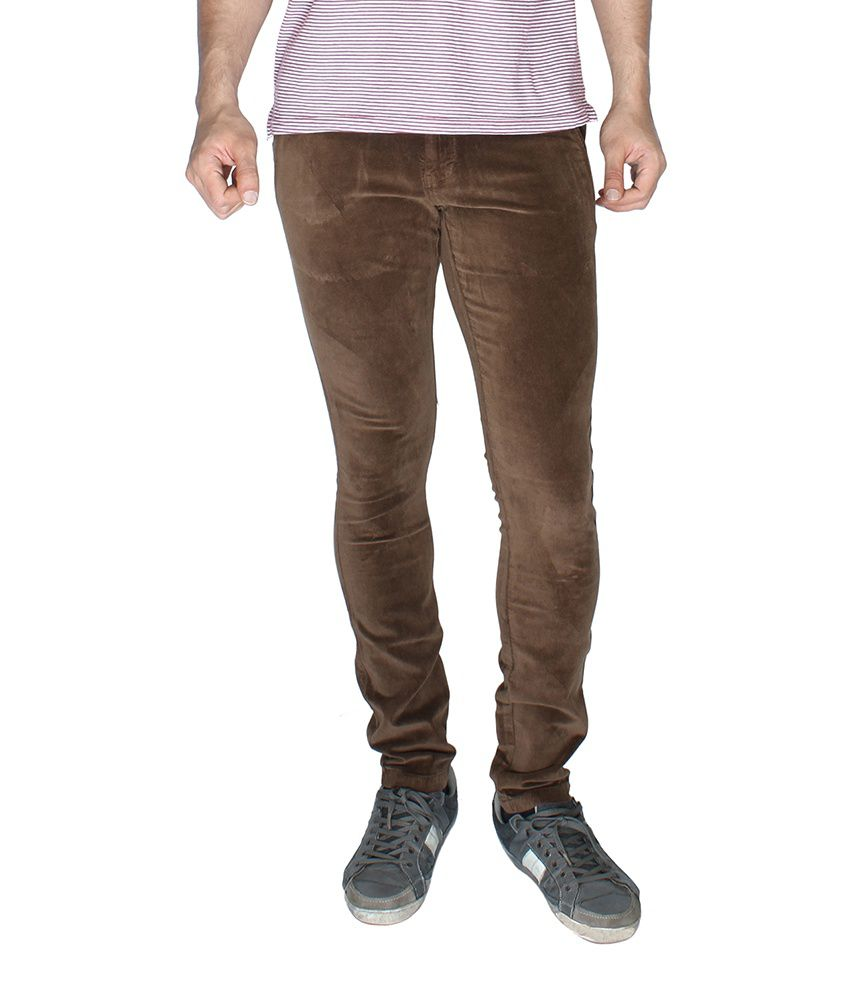 Globus Brown Cotton Regular Fit Semi Formal Chinos