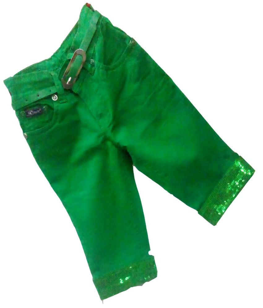 Piggy N Wiggy Green Patch Work Cotton Capri