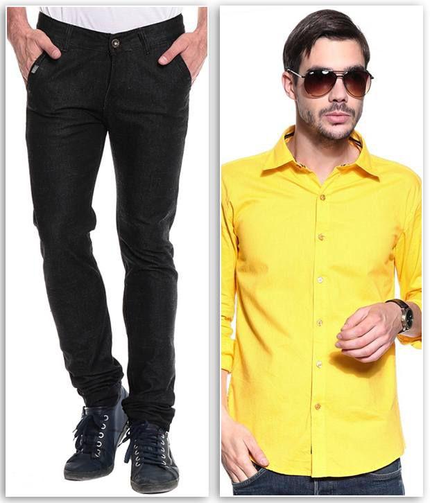 Ree Combo Of Black Slim Denim Jeans And Yellow Shirt