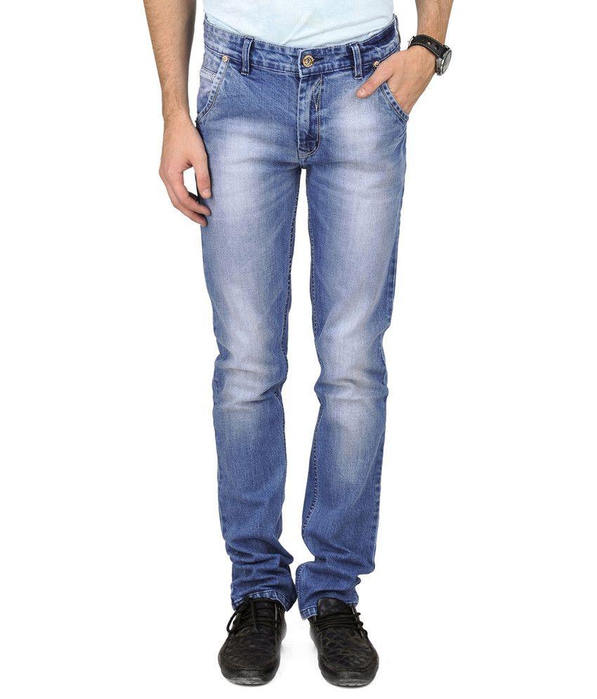 Usser'x Jeans Blue Cotton Blend Faded Jeans