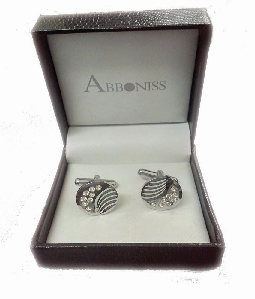 Abboniss Silver Metal Cufflinks 8 Stones For Men