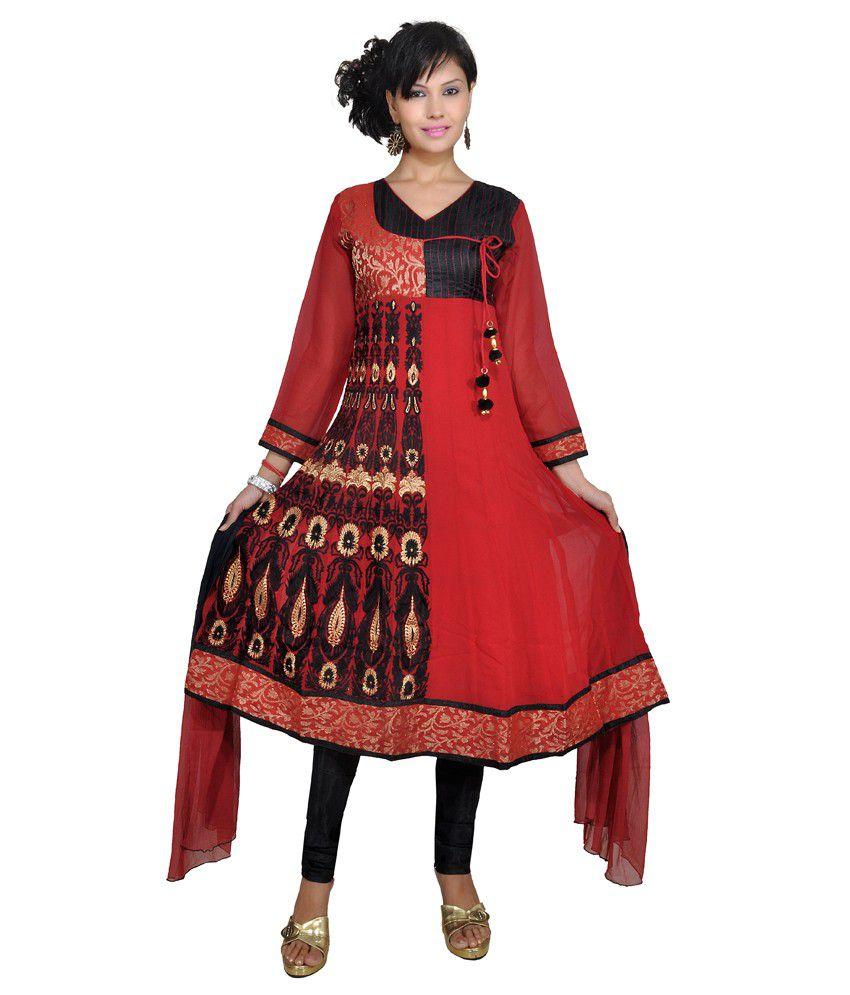 Ajahara Red With Black Printed Faux Georgette Anarkali Salwar Suit