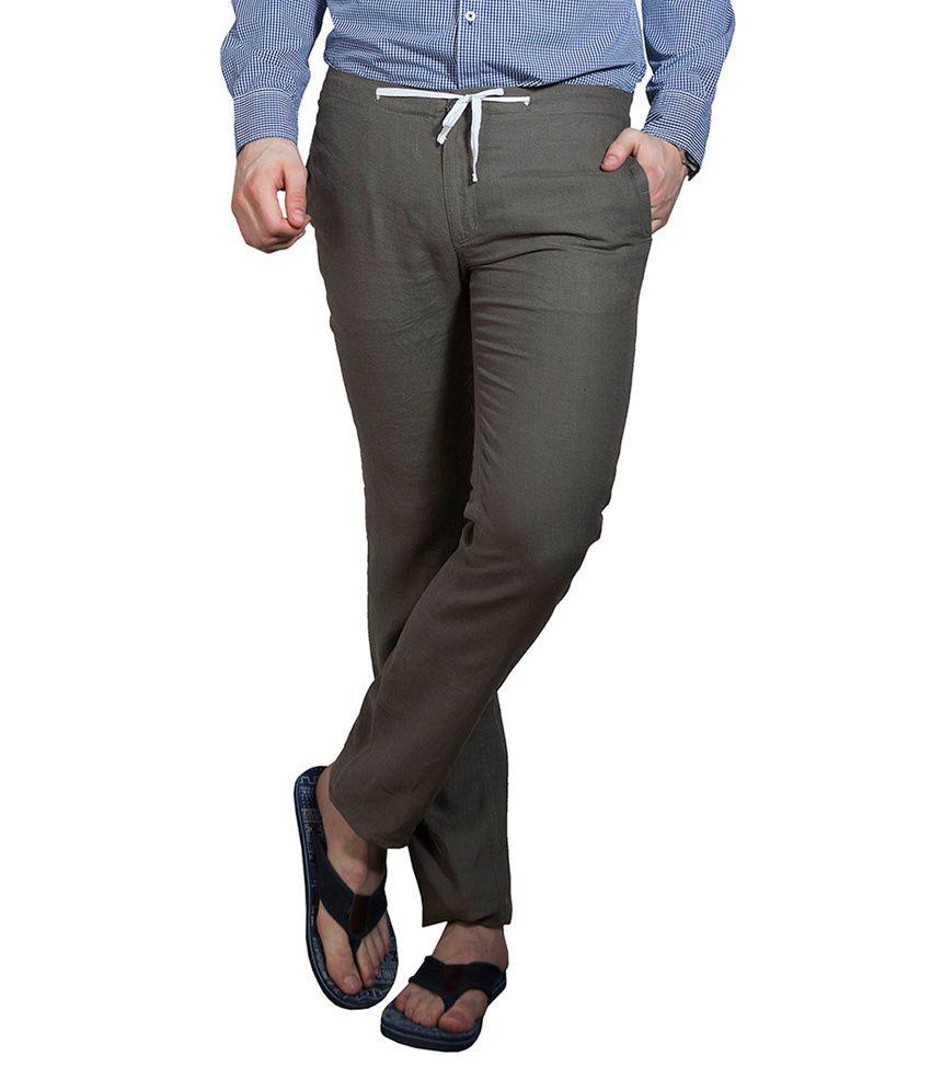 Cottonworld Men Olive Regular Fit Casual Pant