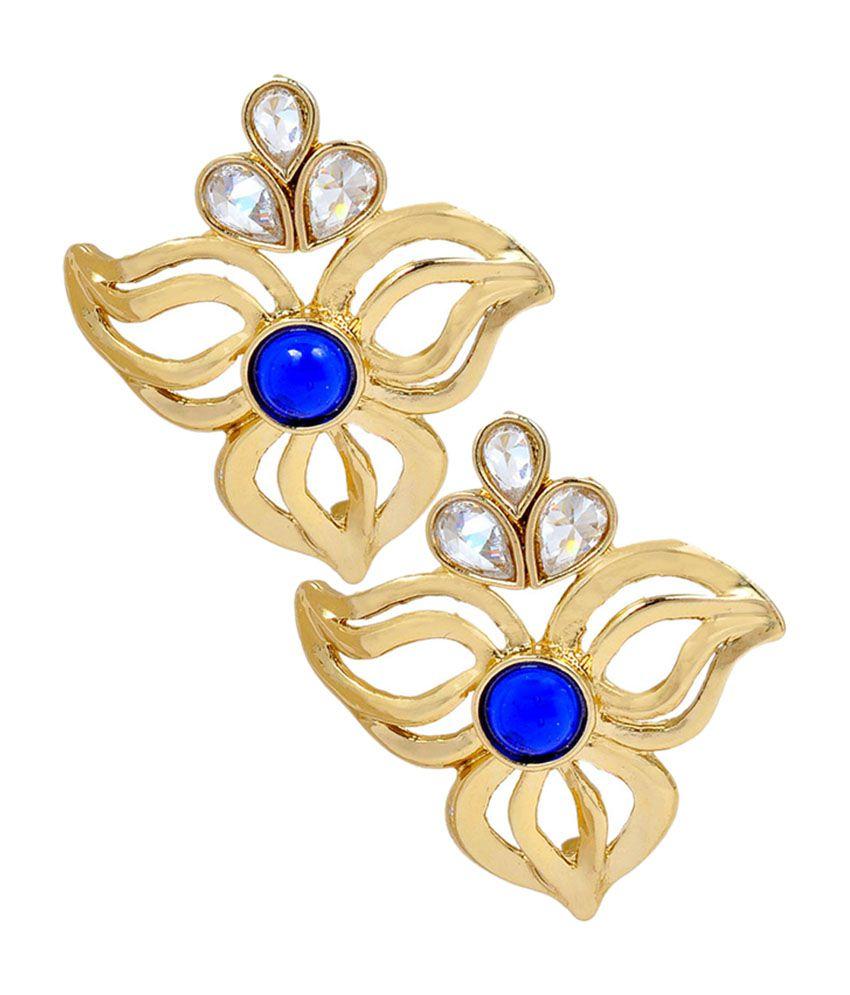Maayra Darling Blue Stone Work Push-back Stud Earrings