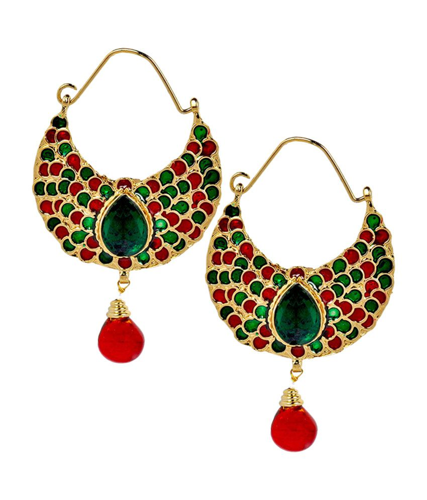 Maayra Fab Multicolour Meenakari Push-back Hoop Earrings