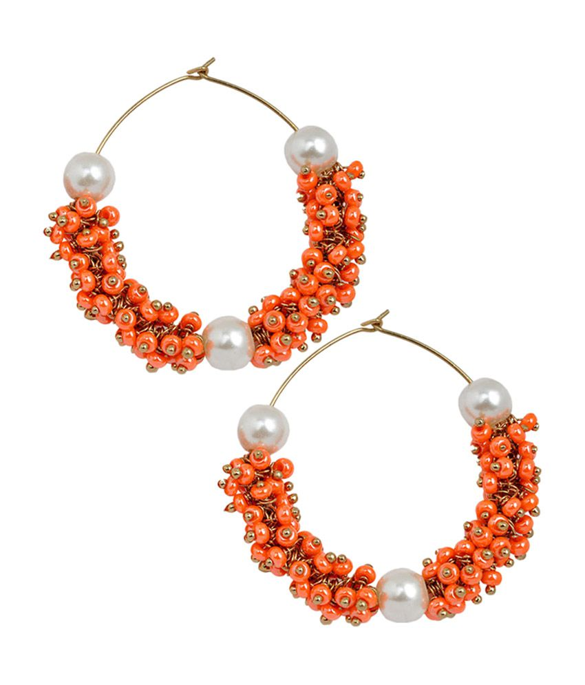 Maayra Modern Orange Pearl Clip-back Hoop Earrings