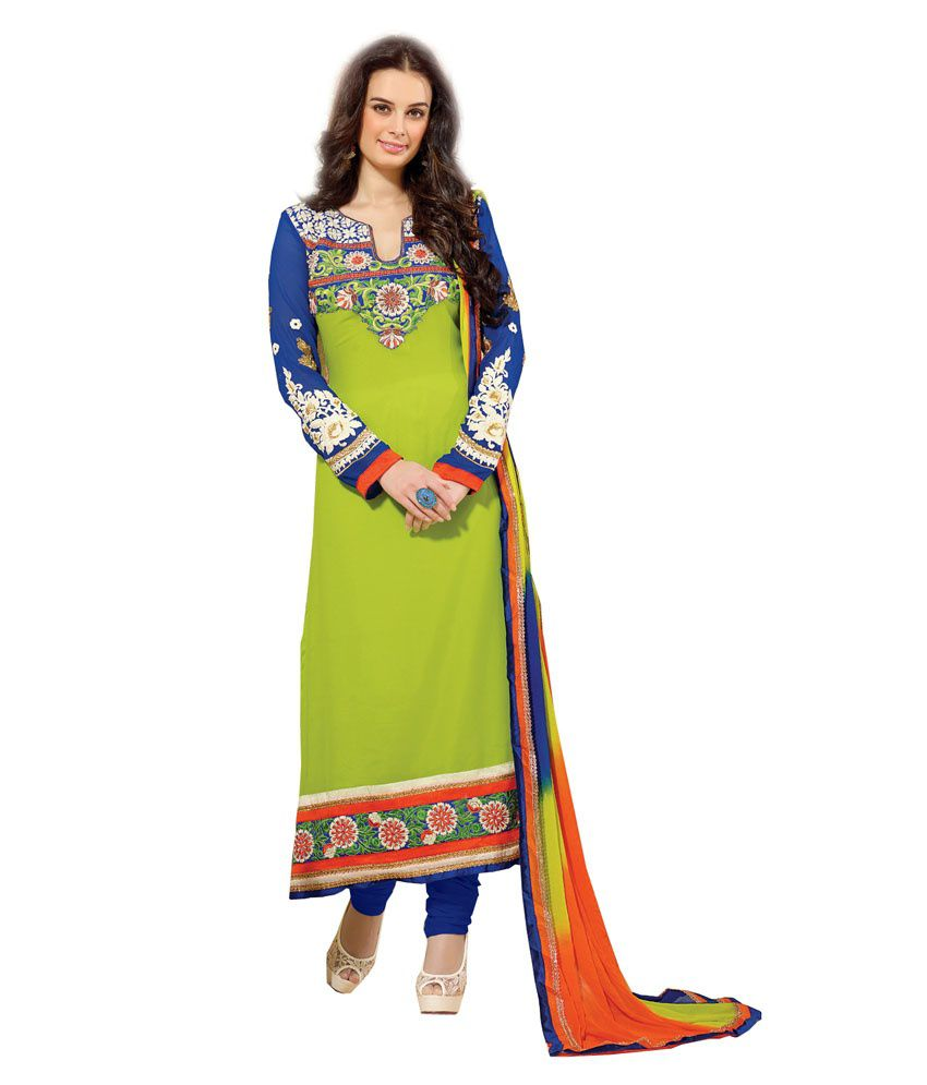 Royal N Rich Green Embroidered Semi-stitched Salwar Suit