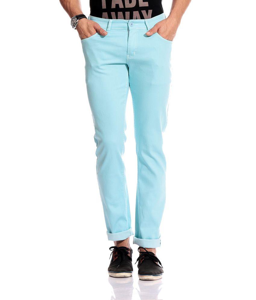 Goodkarma Blue Cotton Slim Fit Casual Cotton Chinos