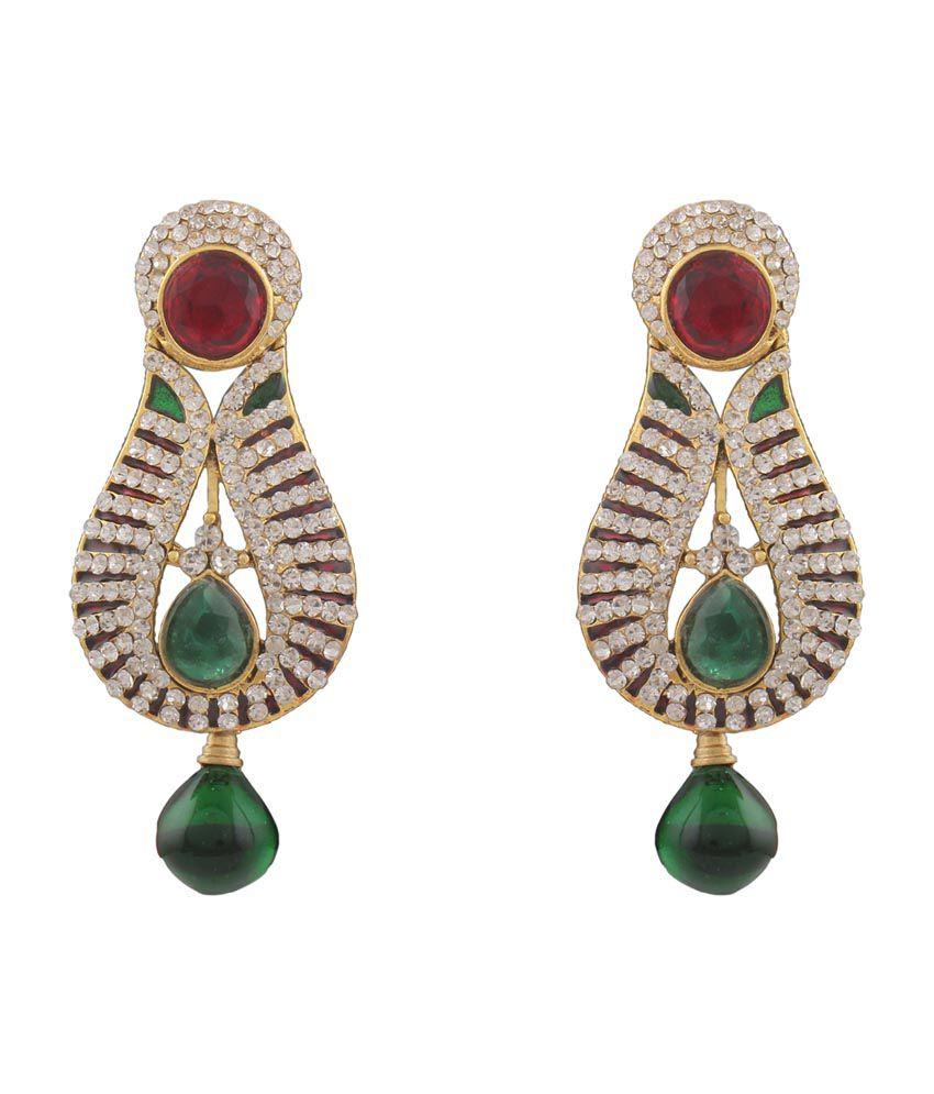Variation Red & Green Stone CZ Fancy Earrings