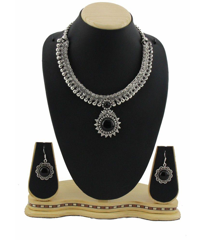 Jstarmart Black Long Haaram Necklace Set For Women