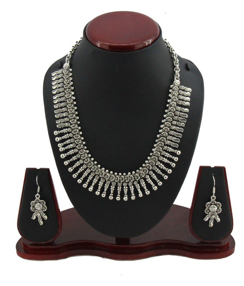 Jstarmart Silver Choker Necklace Set For Women