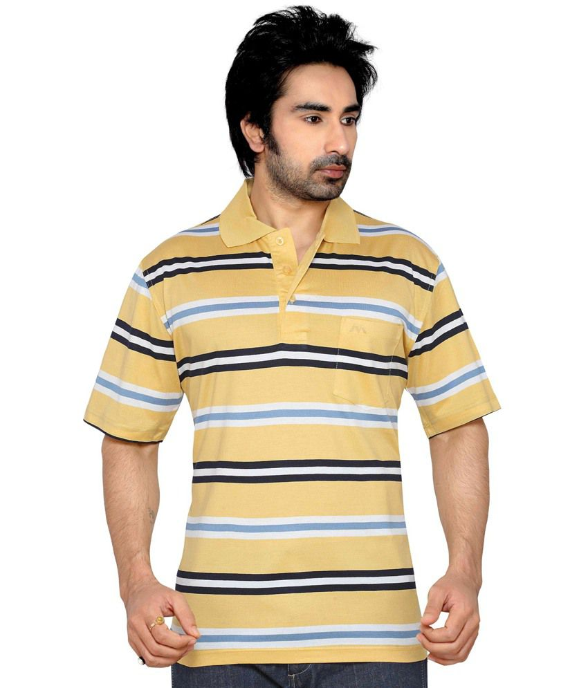 Thinc Yellow Cotton Half Sleeve Basic T-shirt For Men
