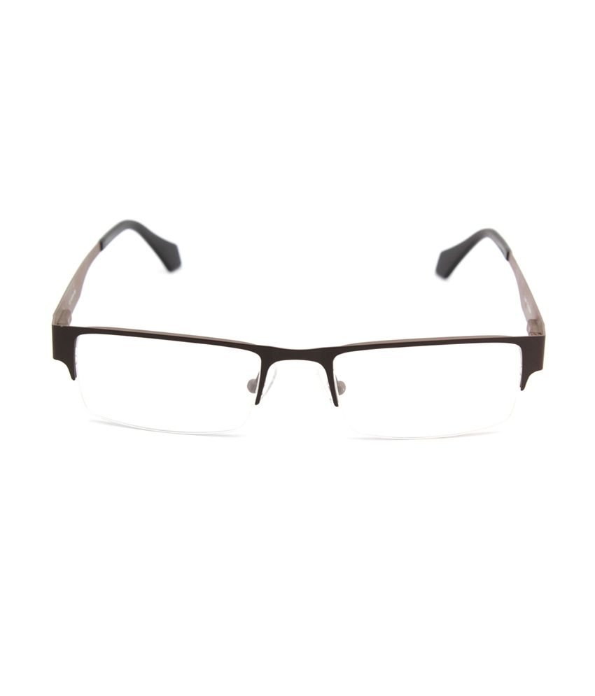 1d436761be Cube Brown Rectangle Half Rim Metal Spectacle Frames For Men - Buy ...