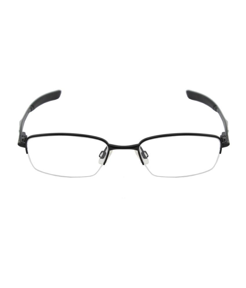 d622ad28cb268 ... Oakley Black Rectangle Half Rim Metal Spectacle Frames For Women ...