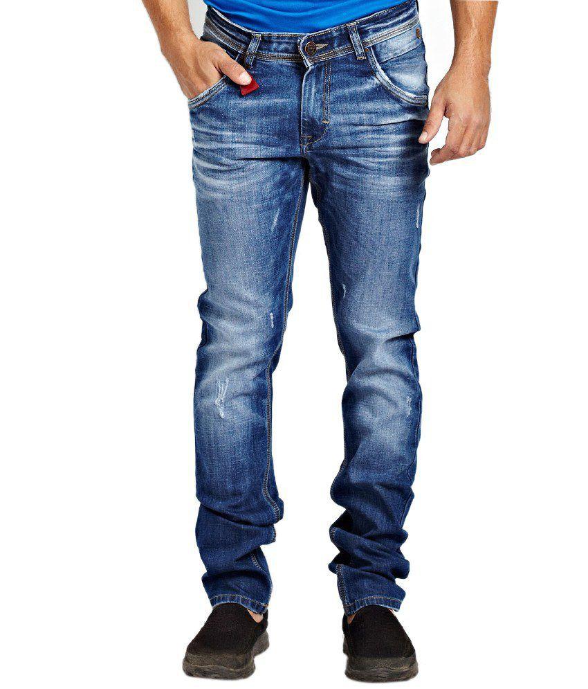 R&c Blue Cotton Blend Narrow Fit Jeans