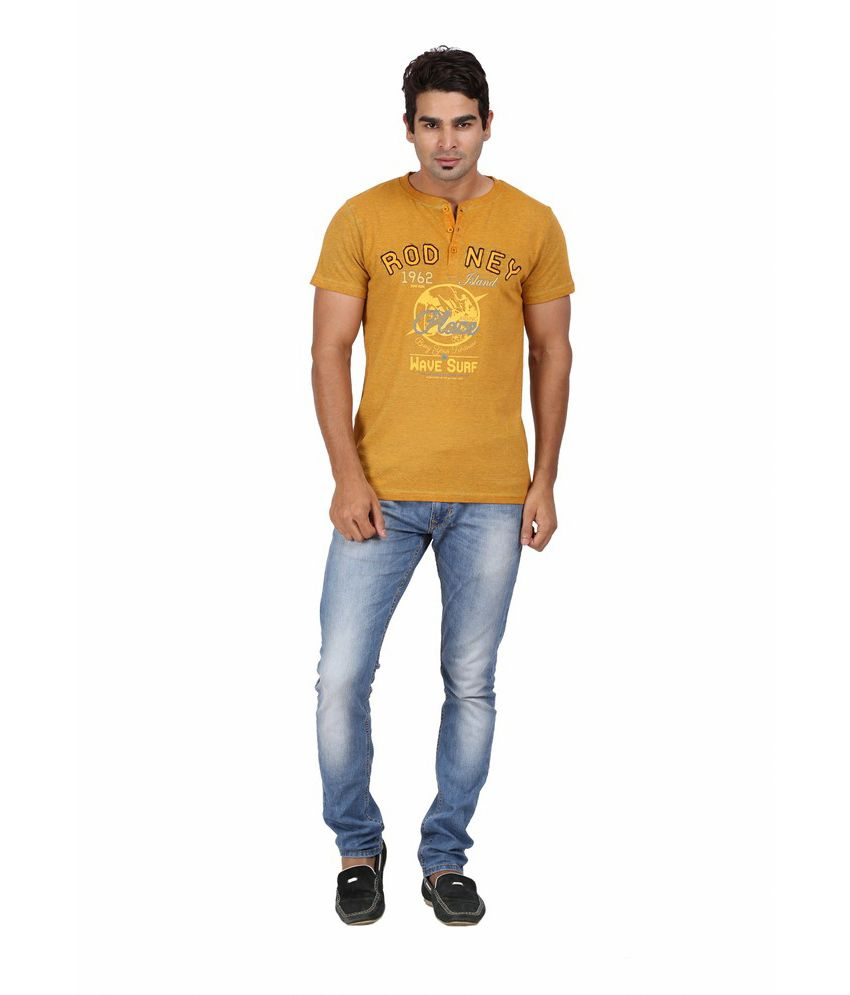 Goflaunt Orange Cotton Blend T-shirt