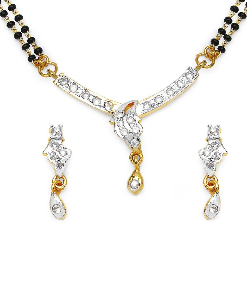 10.68 Grams White Cubic Zirconia Gold Plated Brass Mangalsutra Set