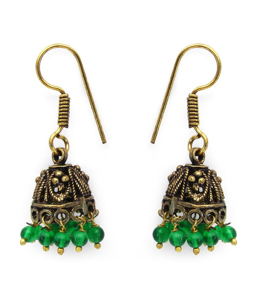 5.89 Grams Green Glass Oxidised Gold Plated Brass Earrings