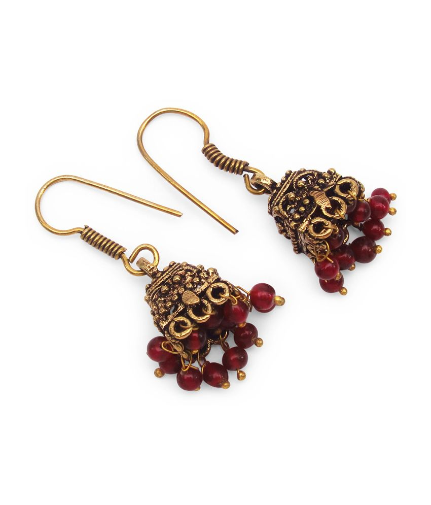 6.84 Grams Maroon Glass Oxidised Gold Plated Brass Earrings