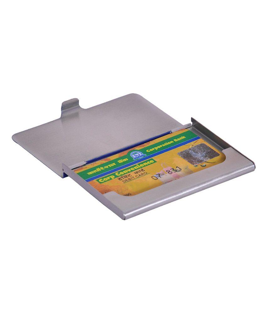 Domestiq Silver Ultraslim Fashionable Steel Card Holder