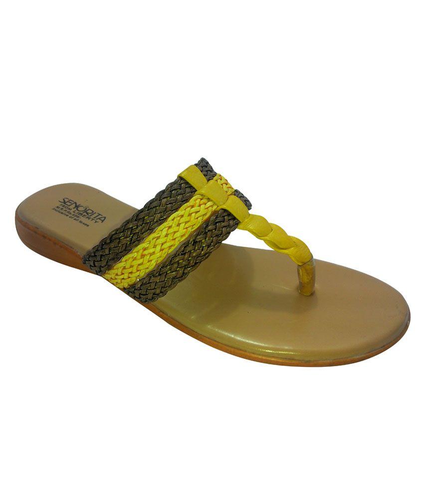Liberty Yellow Low Heel Women Ethnic