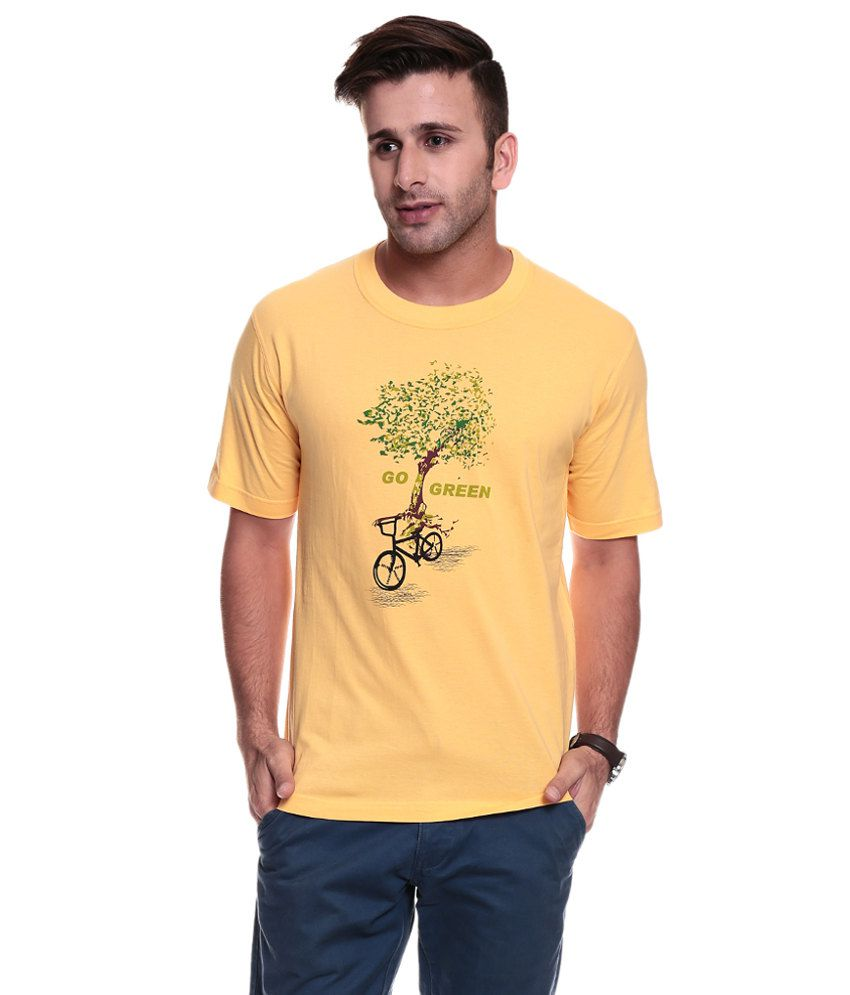 Tsg Escape Men's Round Neck Yellow Printed T-shirt