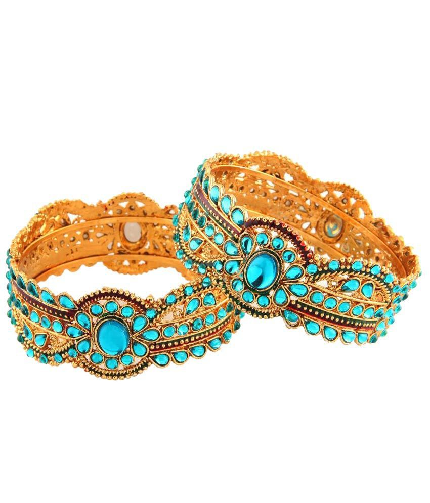 Utsavi Blue & Golden Kundan Kadas Set Of 2