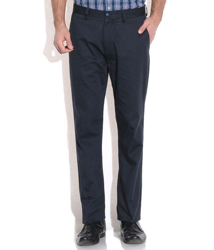 Ruggers Navy Regular Formals Trousers & Chinos