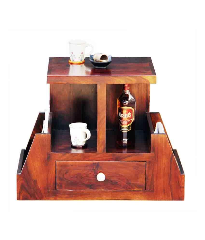 Junglewood Sophy Walnut Multipurpose Side Table Magazine Stand