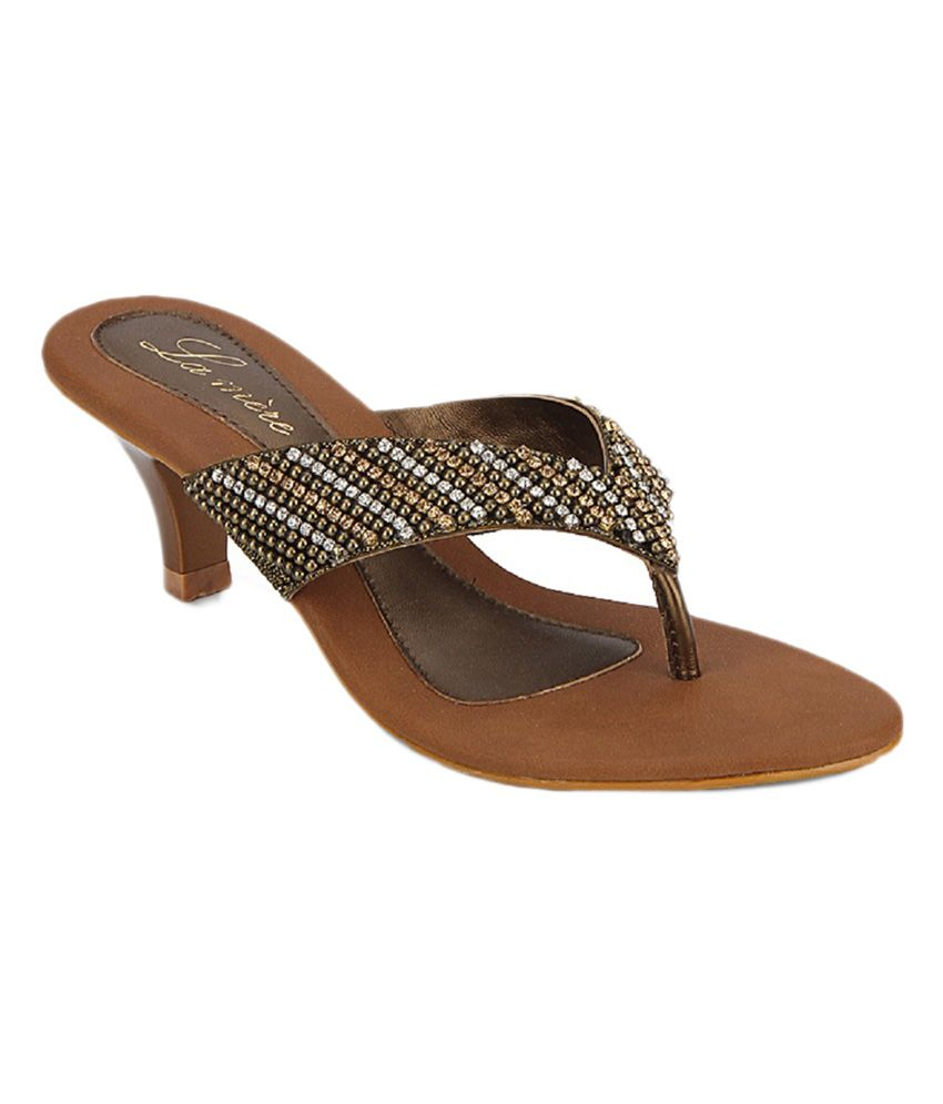 Lamere Women's Fashion Synthetic Antic Gold Heel Slip-on
