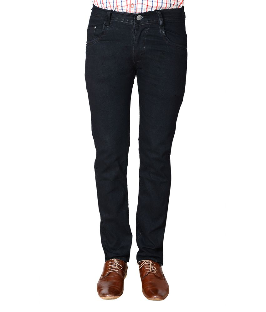 Flyjohn Black Slim Fit Stretchable Cotton Jeans