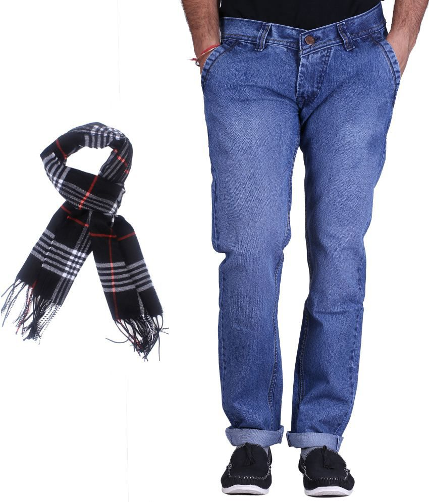 Kaasan Blue Stretchable Jeans With Free 1 Assorted Muffler