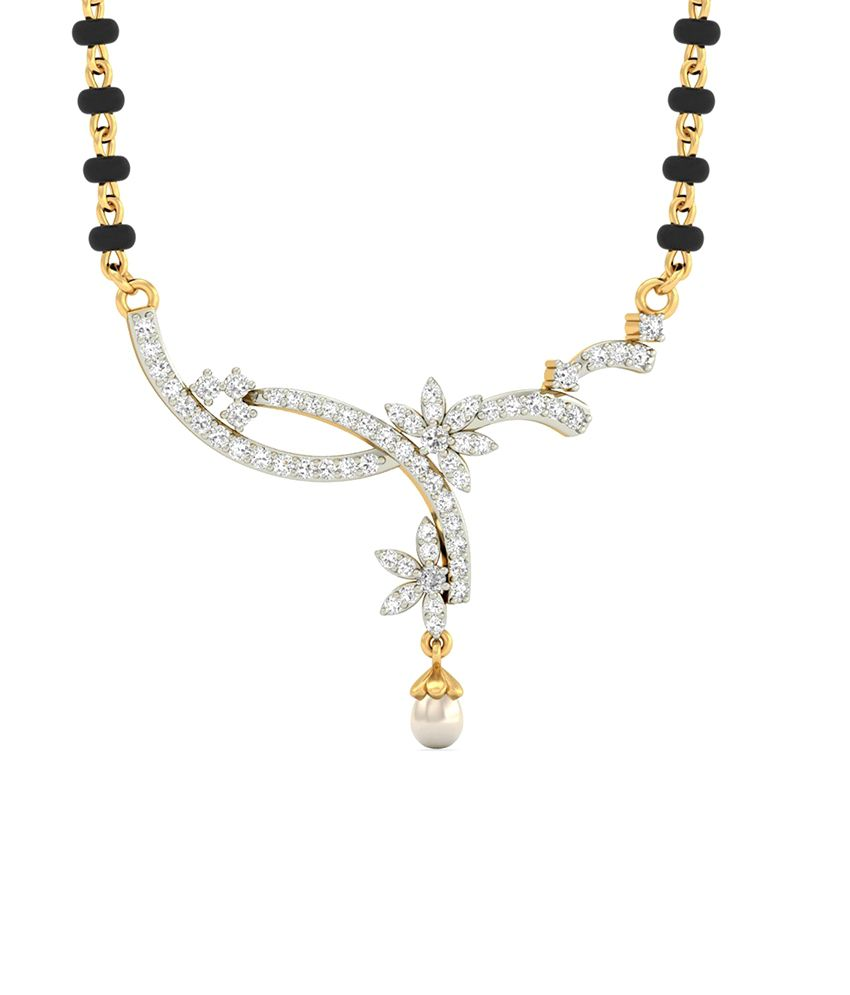 WearYourShine PC Jeweller 18KT Gold The Oralee Diamond & Pearl Mangalsutra