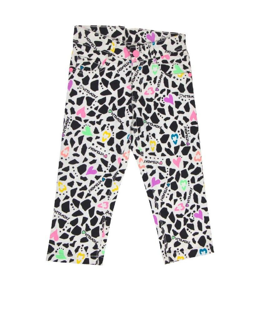 Vitamins Black Color Printed Capris For Kids