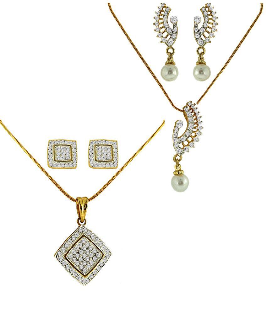 Dg Jewels Designer Dual Tone Plating Combo Of 2 Pendant Sets