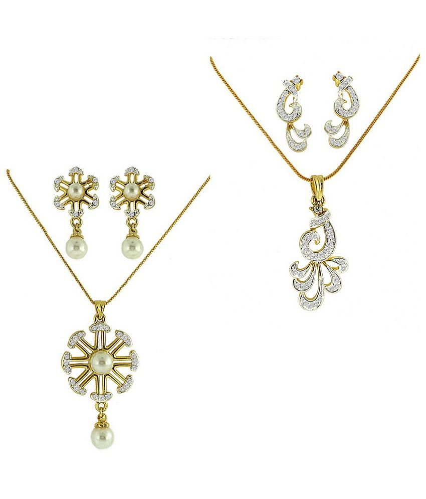 Dg Jewels Exquisite Dual Tone Plating Combo Of 2 Pendant Sets